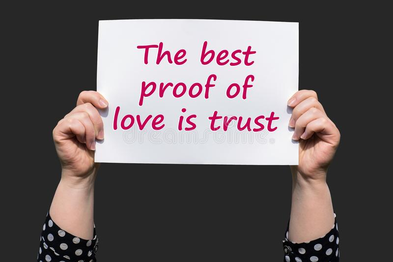 The best proof of love is trust stock images