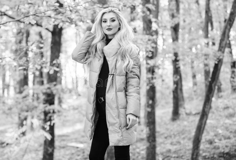 Best puffer coats to buy. How to rock puffer jacket like star. Puffer fashion concept. Outfit prove puffer coat can look. Stylish. Jackets everyone should have royalty free stock photo