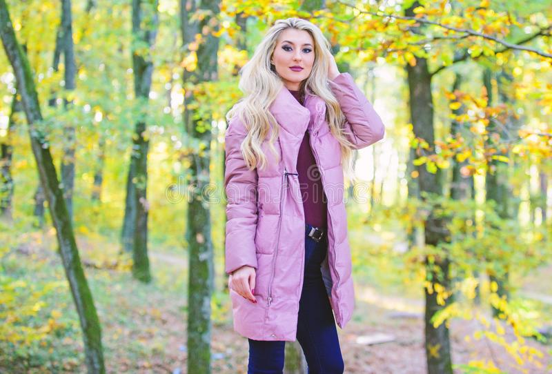 Best puffer coats to buy. How to rock puffer jacket like star. Puffer fashion concept. Outfit prove puffer coat can look. Stylish. Jackets everyone should have royalty free stock photography