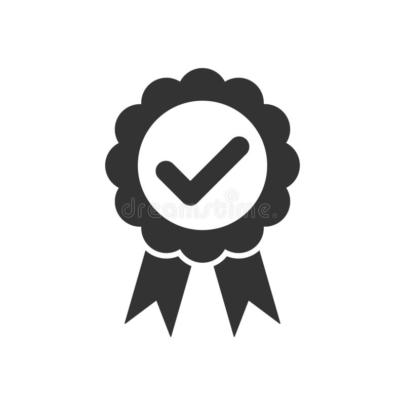 Best quality badge, approval check mark with ribbons icon vector for graphic design, logo, web site, social media, mobile app, ui.  stock illustration