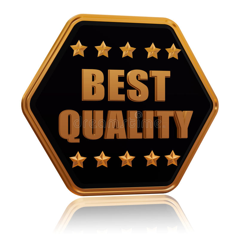 Best quality five star hexagon button. Best quality - 3d black golden hexagon button with text and five stars stock illustration