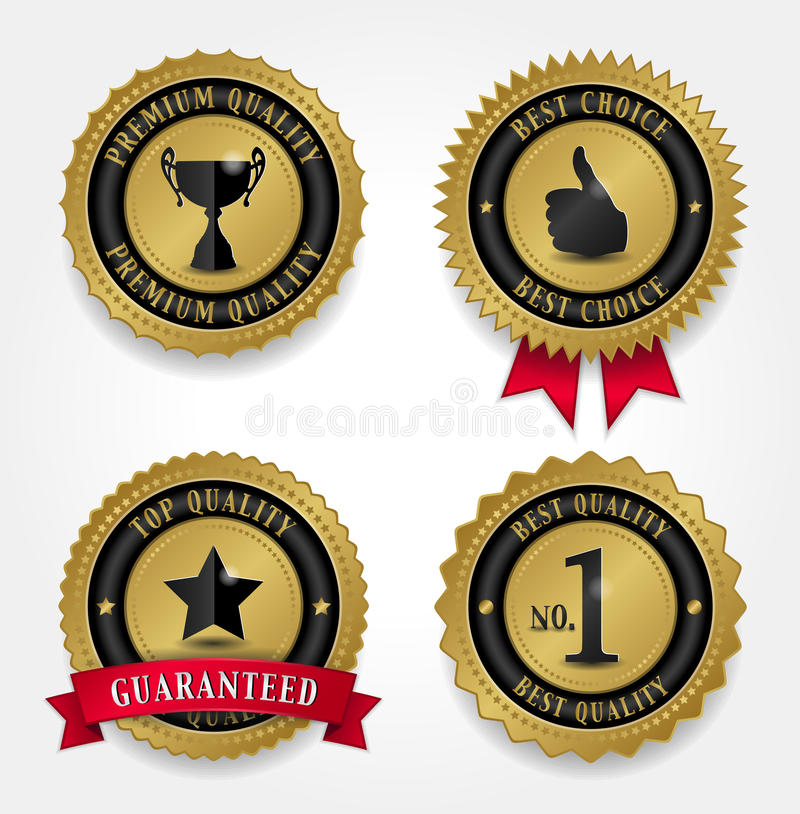 Best Quality Labels - Golden. Vector illustration of four Golden quality labels - Premium quality label with winner cup, Best choice label with thumb up and red vector illustration