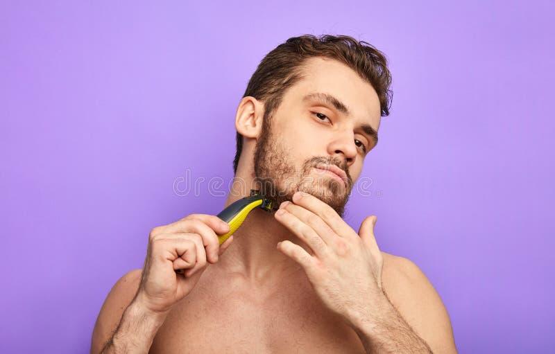 Best razor on the market. close up portrait. stock photography