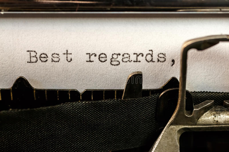 Best regards text written by old typewriter royalty free stock images