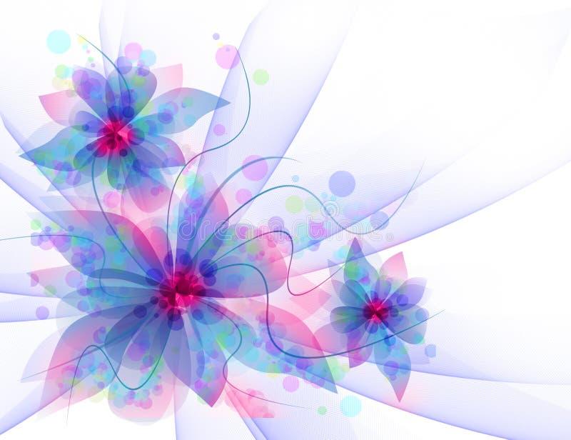 Best Romantic Flower Background. Delicate flowers, light curls, ribbons, veils in blue tones stock illustration