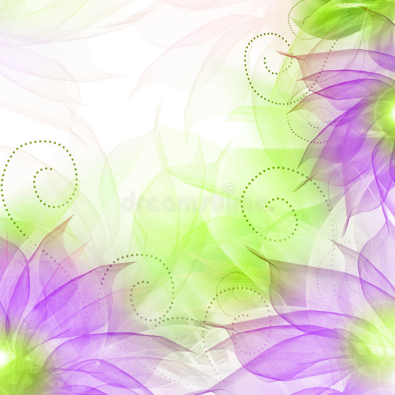 Best Romantic Flower Background. Delicate flowers, light curls, ribbons, veils in shades of lilac vector illustration