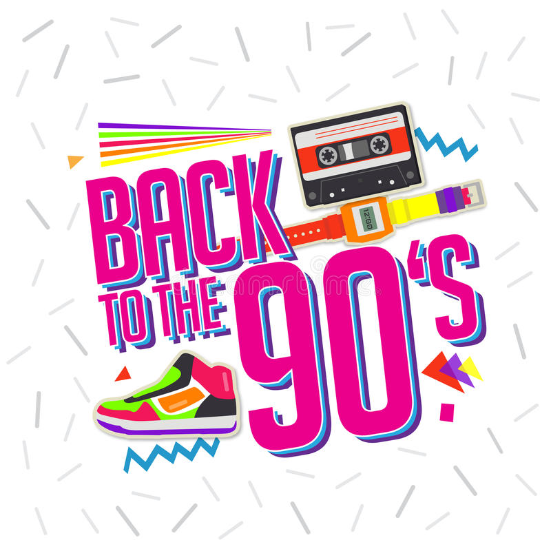 Best of 90s illistration with cassette and shoes background vector illustration