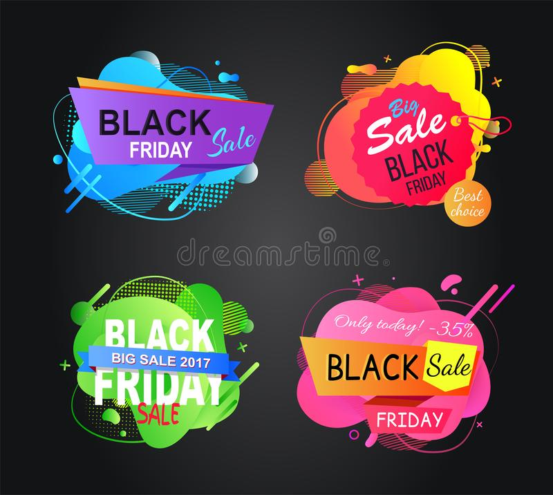 Best Sale and Deal of Shops, Black Friday Offer. Special offer on black friday vector, announcement of price reduction and sales, sellout and clearance vector illustration