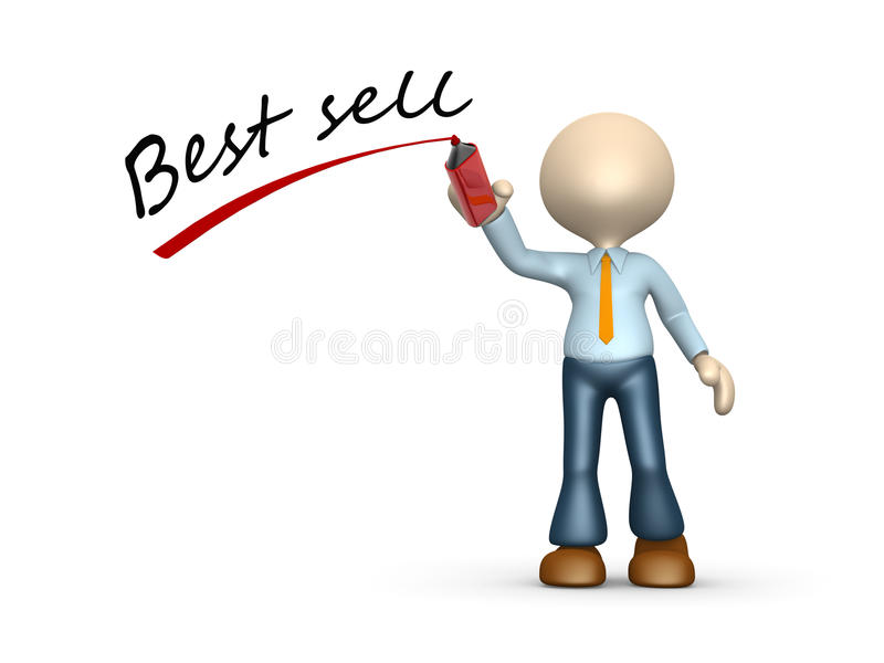 Best sell. 3d people - man, person and marker. Best sell concept stock illustration