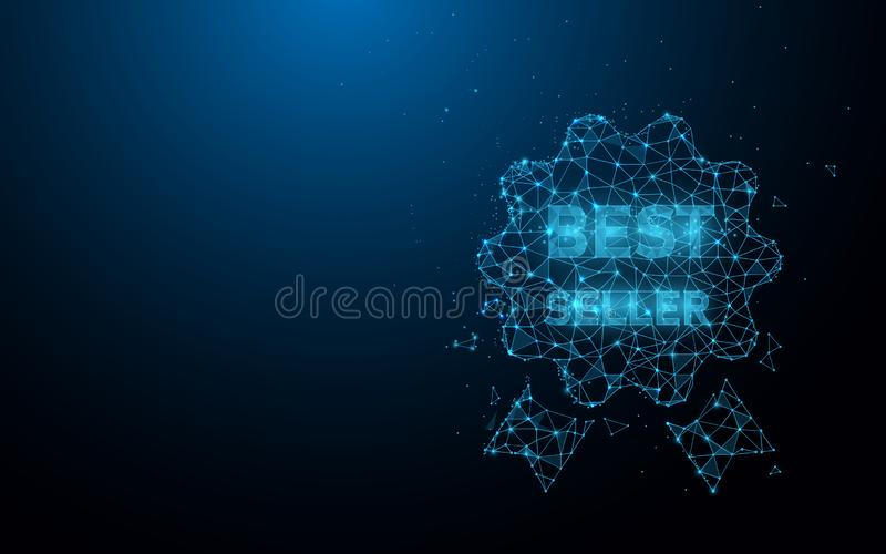 Best seller icon form lines, triangles and particle style design stock illustration