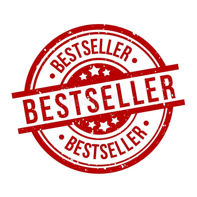 Best-seller om het rode kenteken van de grungezegel royalty-vrije illustratie