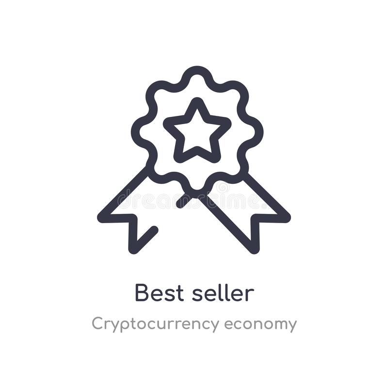 best seller outline icon. isolated line vector illustration from cryptocurrency economy collection. editable thin stroke best stock illustration