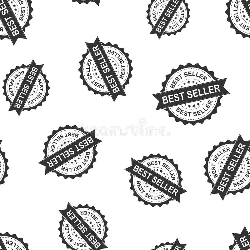 Best seller seal stamp seamless pattern background. Business con stock illustration