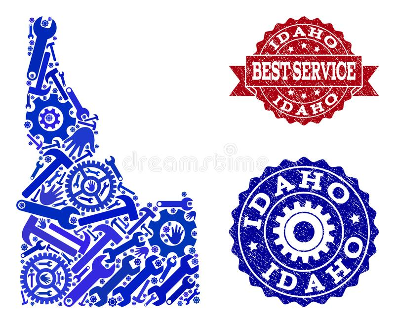 Best Service Collage of Map of Idaho State and Textured Watermarks. Best service combination of blue mosaic map of Idaho State and rubber seals. Mosaic map of stock illustration