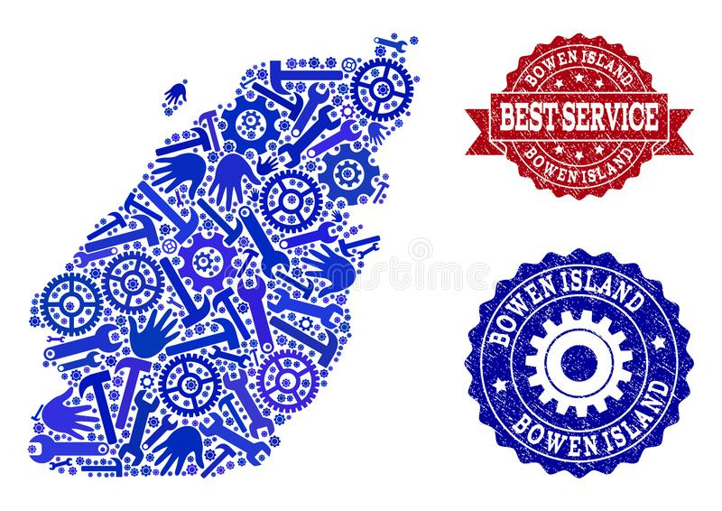 Best Service Composition of Map of Bowen Island and Grunge Stamps. Best service composition of blue mosaic map of Bowen Island and rubber stamps. Mosaic map of royalty free illustration
