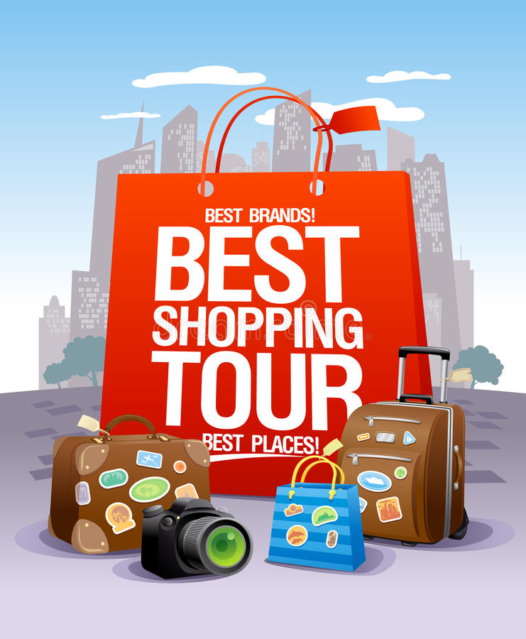Best shopping tour design concept, big red paper bag, suitcases and camera royalty free illustration
