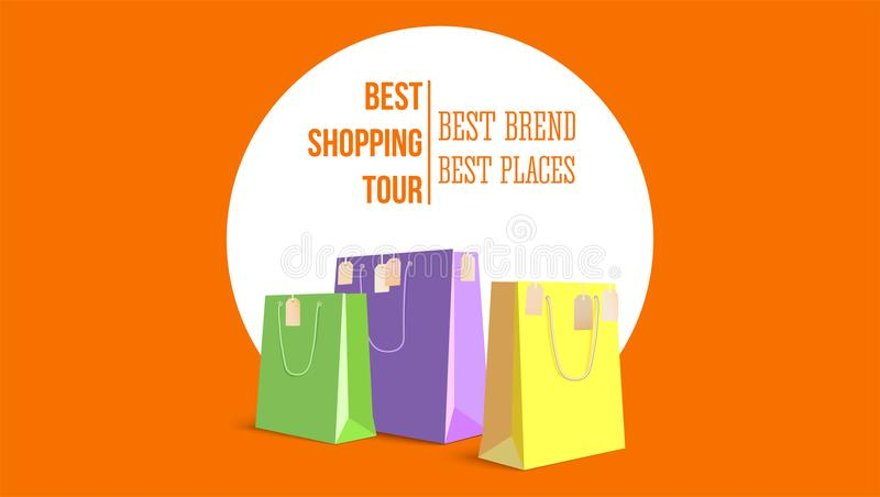 Best shopping tour, horizontal poster with paper bags and label from new purchased items on orange backdrop. Template vector illustration