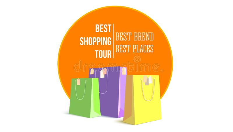 Best shopping tour. Template of design advertising banner, trip for cheap shopping. Big paper bags with tags. Concept of vector illustration
