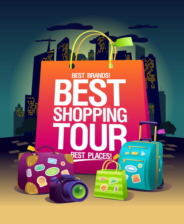 Best shopping tour vector poster, night shopping in big city concept, pink paper bag, suitcases and camera, stock illustration