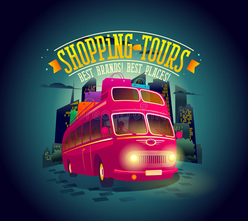 Best shopping tours poster with riding double-decker bus against night city background vector illustration