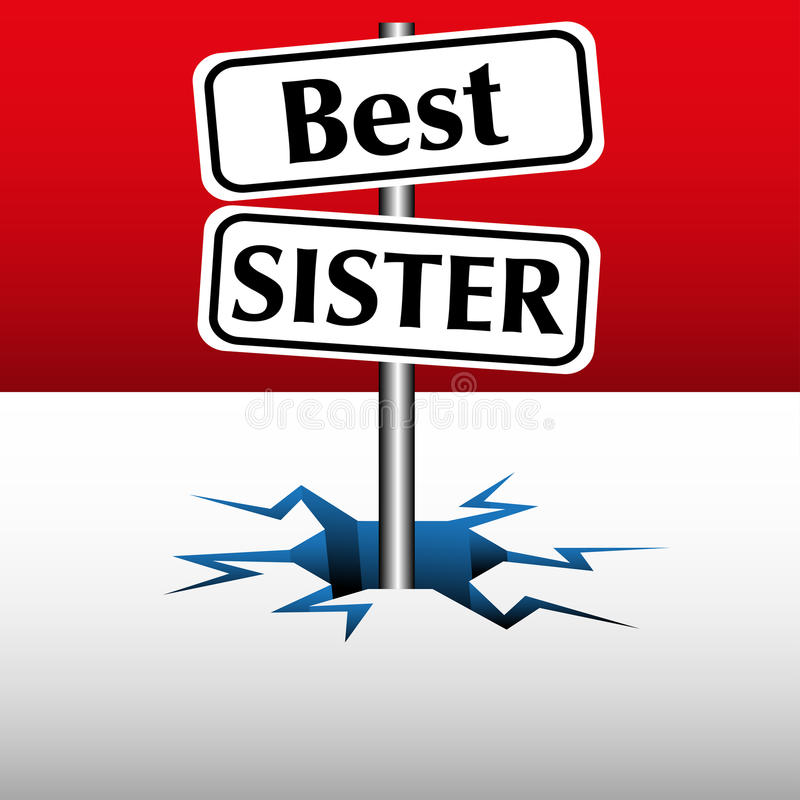 Best sister plate. Abstract colorful background with two plates with the text best sister coming out from an ice crack vector illustration