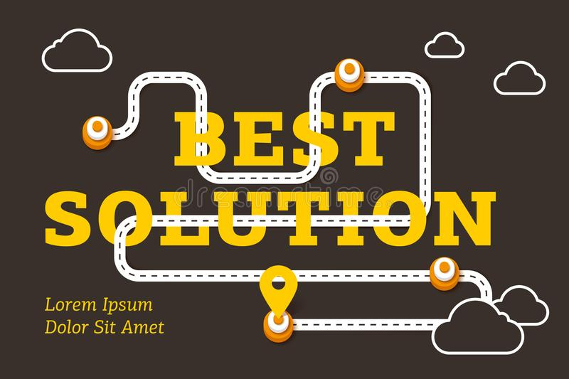 Best solution business concept with winding road stock illustration