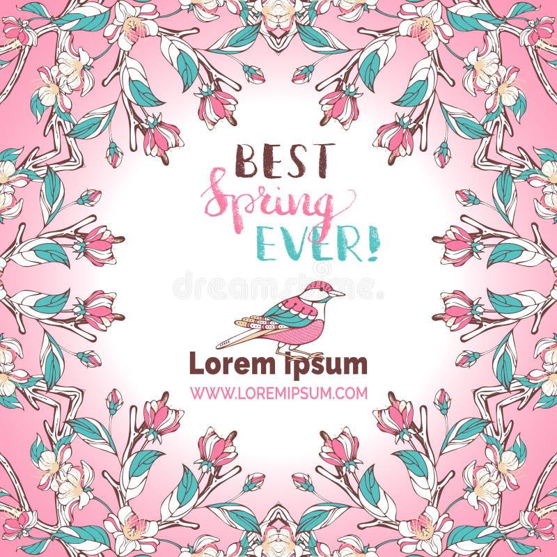 Best spring ever card. stock illustration