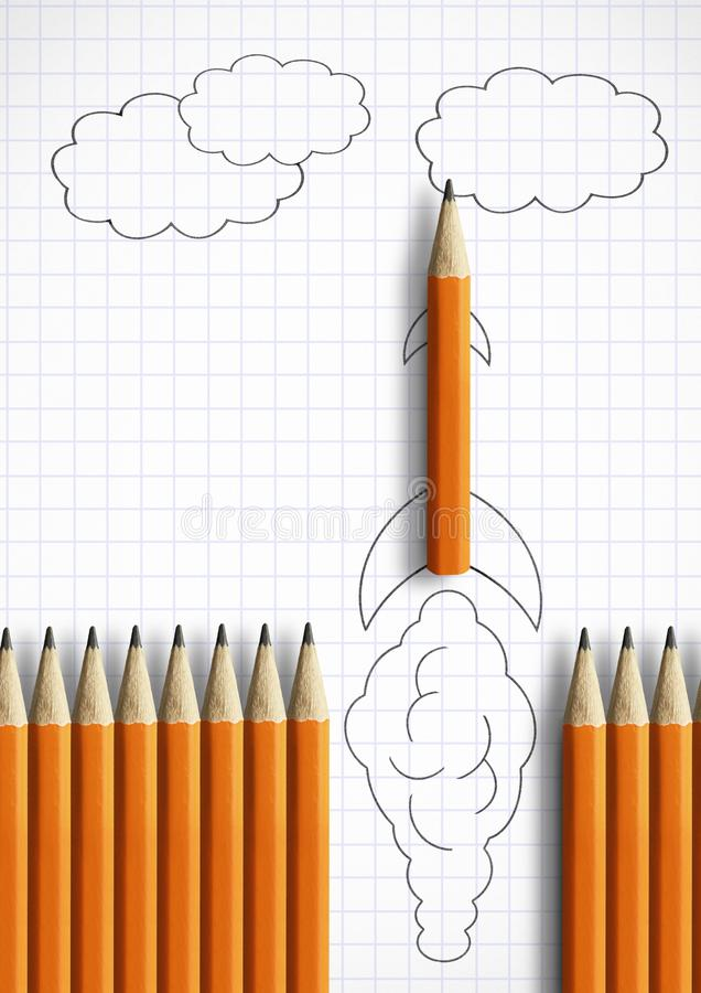 Best startup idea creative concept, pencil as drawn rocket stock image