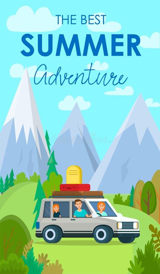 The Best Summer Adventure Vertical Vacation Banner vector illustration