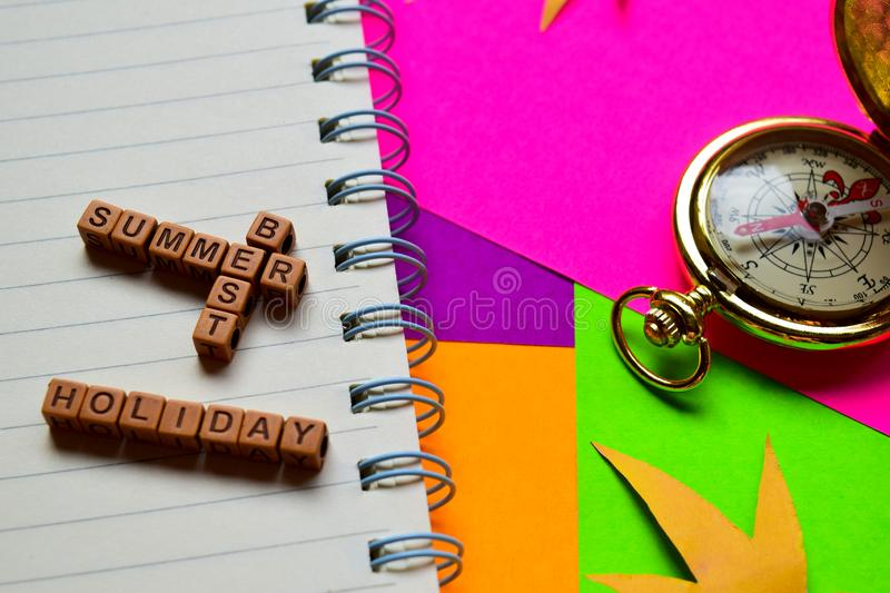 Best summer holiday message written on wooden blocks. Vacation and travel concepts. Cross processed image stock images