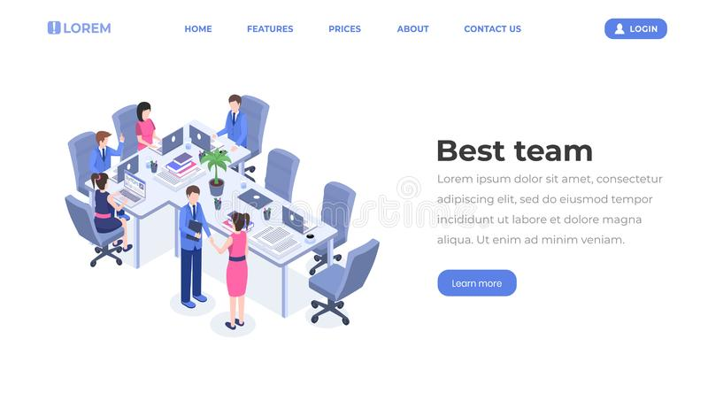 Best team isometric landing page template. Business group teamwork, professional partnership, cooperation, office stock illustration
