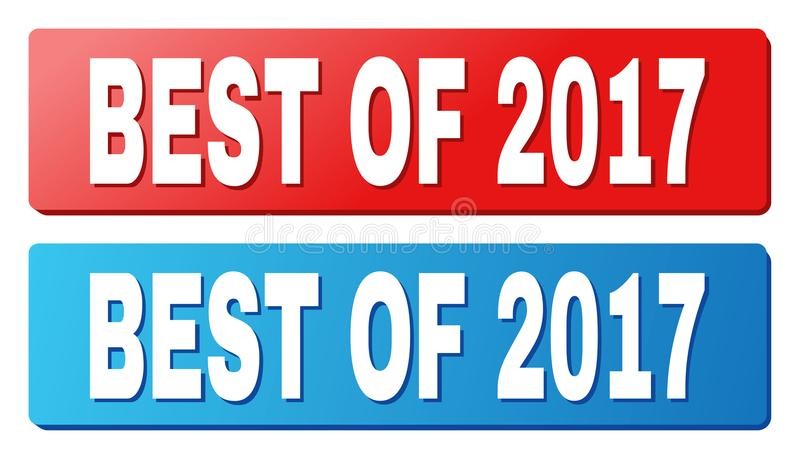 BEST OF 2017 Caption on Blue and Red Rectangle Buttons. BEST OF 2017 text on rounded rectangle buttons. Designed with white caption with shadow and blue and red vector illustration