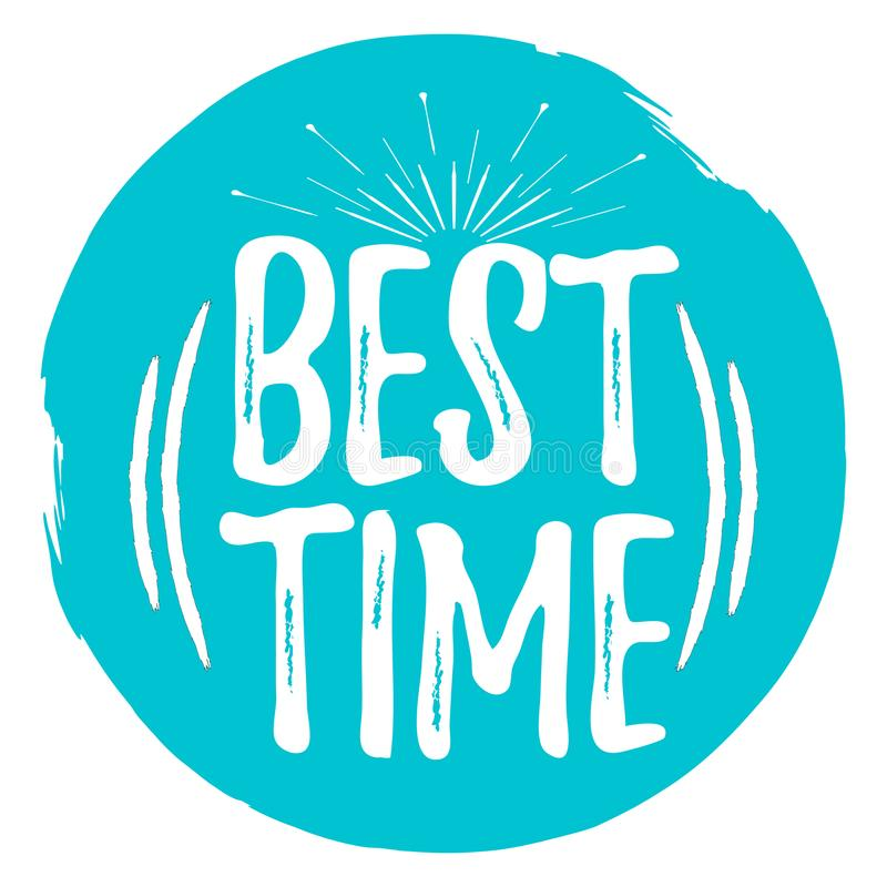 Best Time label. Font with Brush. Summer and Beach badges. vector illustration