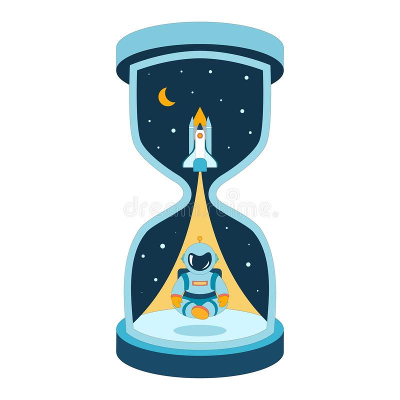 The best time for a startup. Metaphor of space exploration. Astronaut and rocket taking off shuttle in large hourglass. Curtains stock illustration