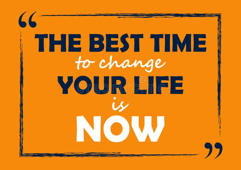 The best time to change your life is now Inspirational quote Business card vector illustration