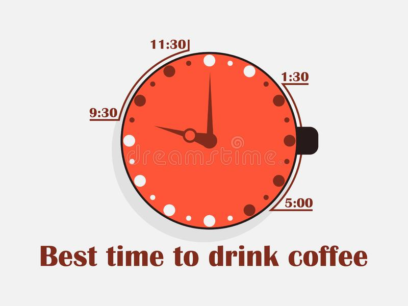 Best time to drink coffee. Cup of coffee with a clock, top view. Flat design concept. Vector. Illustration stock illustration