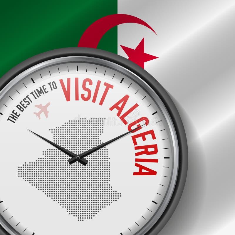 The Best Time to Visit Algeria. Flight, Tour to Algeria. Vector Illustration. The Best Time to Visit Algeria. Travel to Algeria. Tourist Air Flight. Waving Flag stock illustration