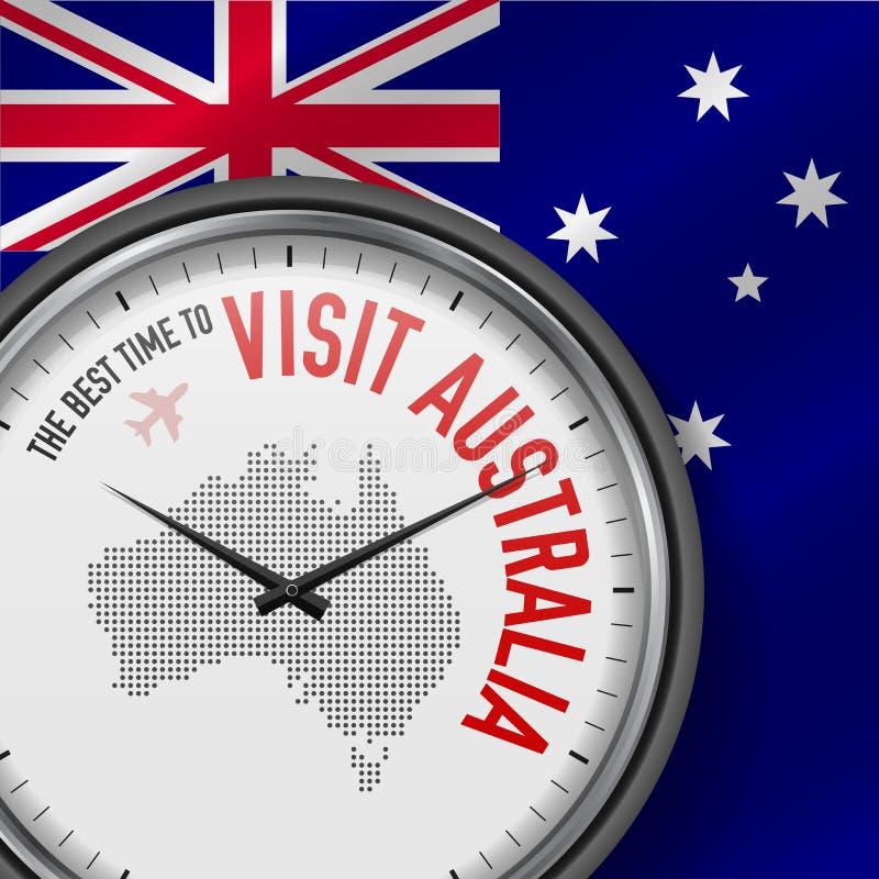 The Best Time to Visit Australia. Flight, Tour to Australia. Vector Illustration. The Best Time to Visit Australia. Travel to Australia. Tourist Air Flight royalty free illustration