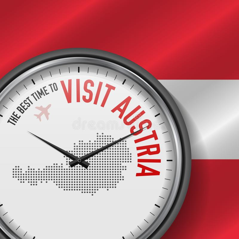 The Best Time to Visit Austria. Flight, Tour to Austria. Vector Illustration vector illustration