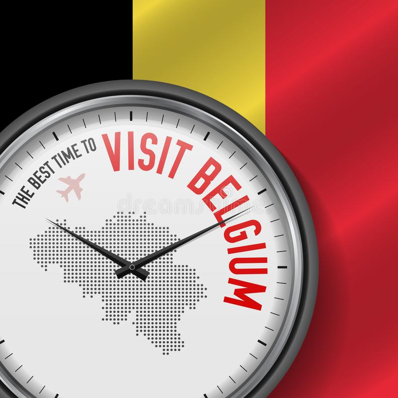 The Best Time to Visit Belgium. Flight, Tour to Belgium. Vector Illustration stock illustration