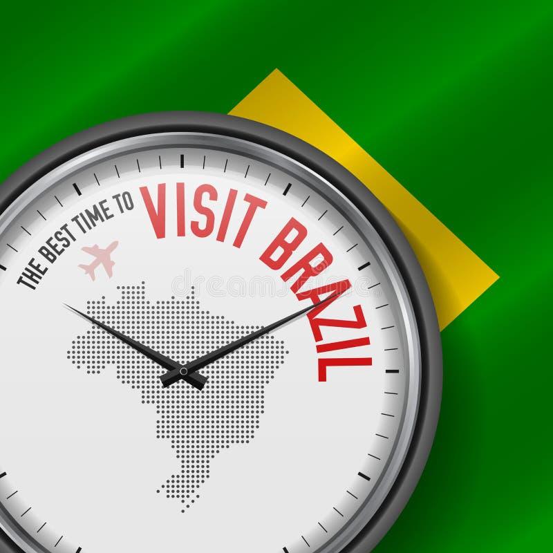 The Best Time to Visit Brazil. Flight, Tour to Brazil. Vector Illustration. The Best Time to Visit Brazil. Travel to Brazil. Tourist Air Flight. Waving Flag stock illustration