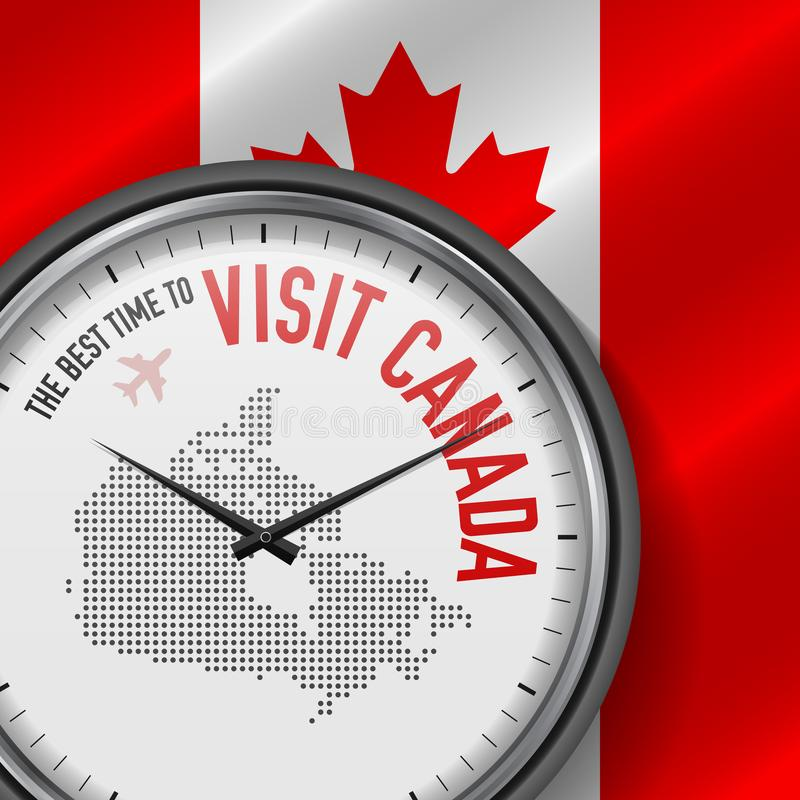 The Best Time to Visit Canada. Flight, Tour to Canada. Vector Illustration stock illustration