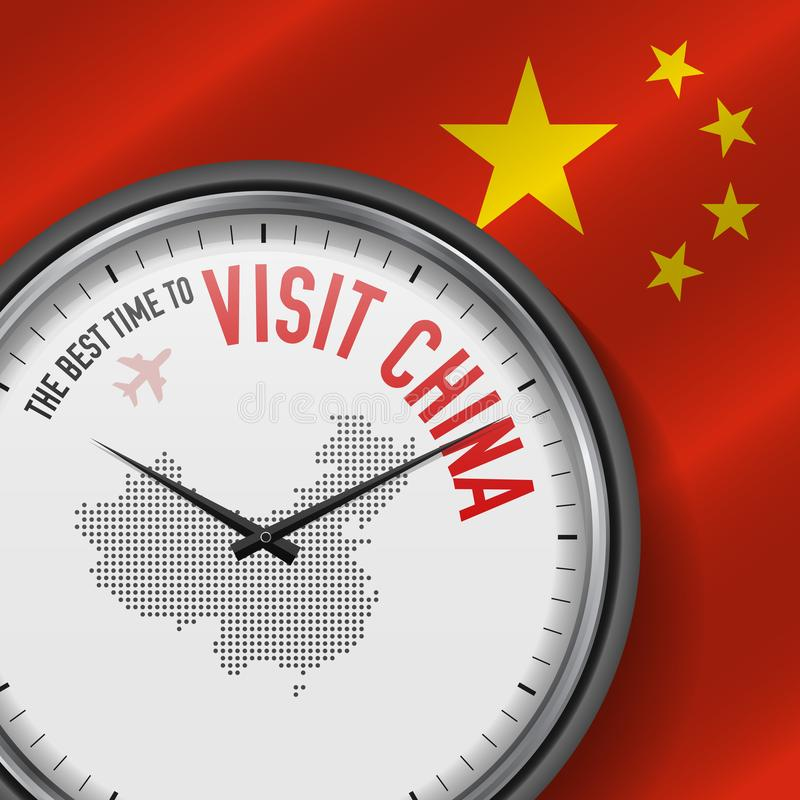 The Best Time to Visit China. Flight, Tour to China. Vector Illustration vector illustration