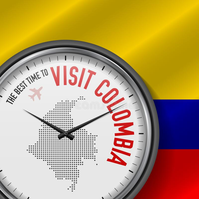 The Best Time to Visit Colombia. Flight, Tour to Colombia. Vector Illustration. The Best Time to Visit Colombia. Travel to Colombia. Tourist Air Flight. Waving vector illustration