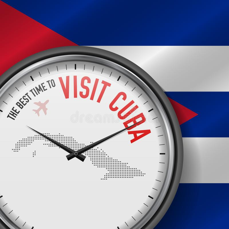 The Best Time to Visit Cuba. Flight, Tour to Cuba. Vector Illustration stock illustration