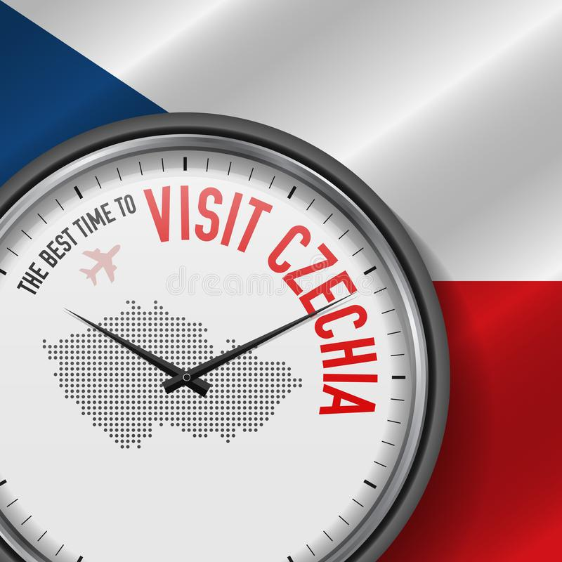 The Best Time to Visit Czechia. Flight, Tour to Czech Republic. Vector Illustration royalty free illustration