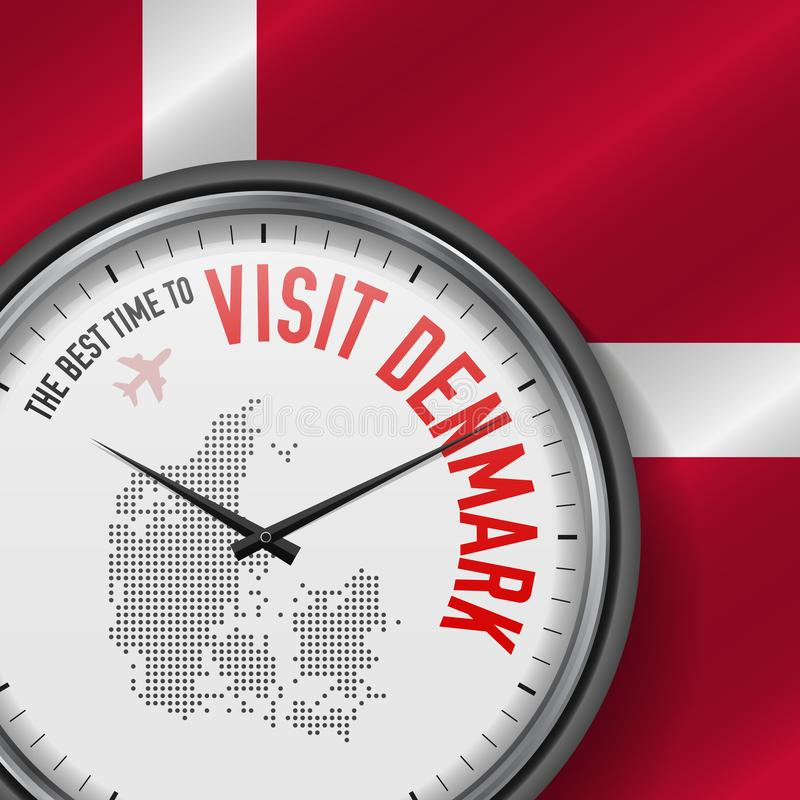 The Best Time to Visit Denmark. Flight, Tour to Denmark. Vector Illustration royalty free illustration