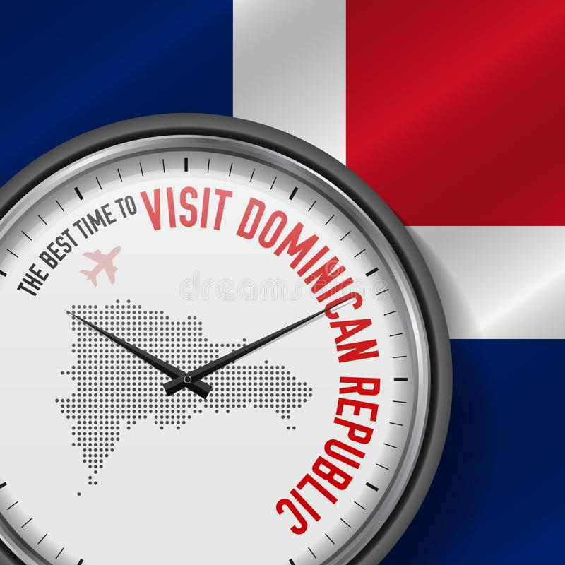 The Best Time to Visit Dominican Republic. Flight, Tour to Dominican Republic. Vector Illustration. The Best Time to Visit Dominican Republic. Travel to vector illustration