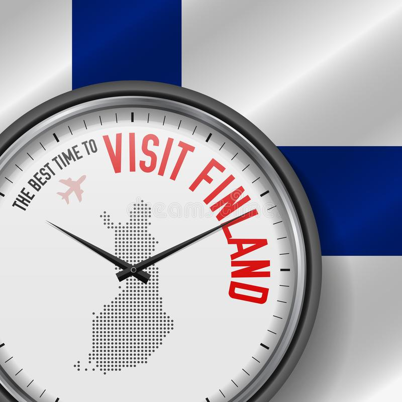 The Best Time to Visit Finland. Flight, Tour to Finland. Vector Illustration royalty free illustration