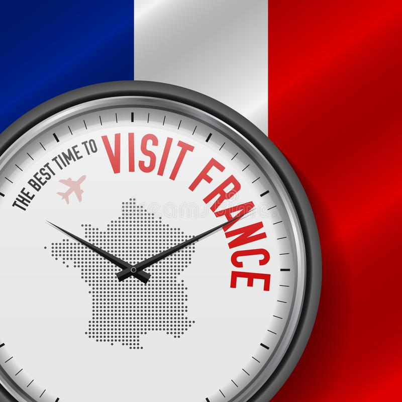 The Best Time to Visit France. Flight, Tour to France. Vector Illustration stock illustration